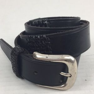 "Fossil Black Leather Weave Detail Belt 1"" wide"